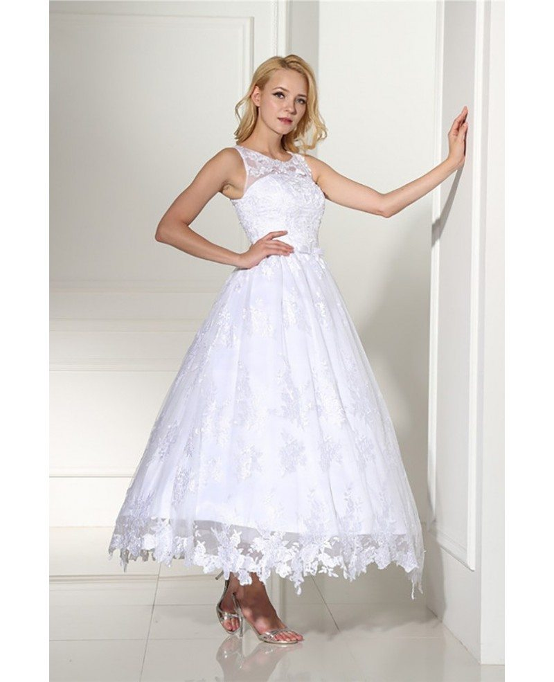 Vintage Ankle Length Ballgown Lace Wedding Dress Rustic