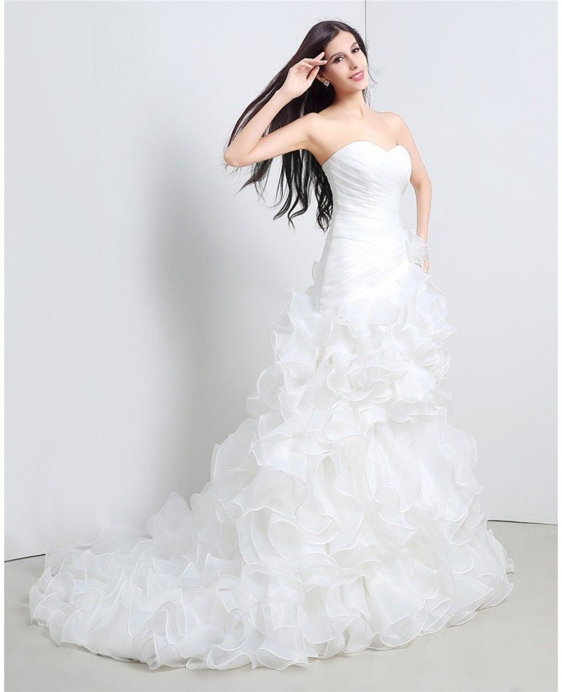 Wedding Gowns Online Cheap: Custom Sweetheart Formal Organza Wedding Dress With