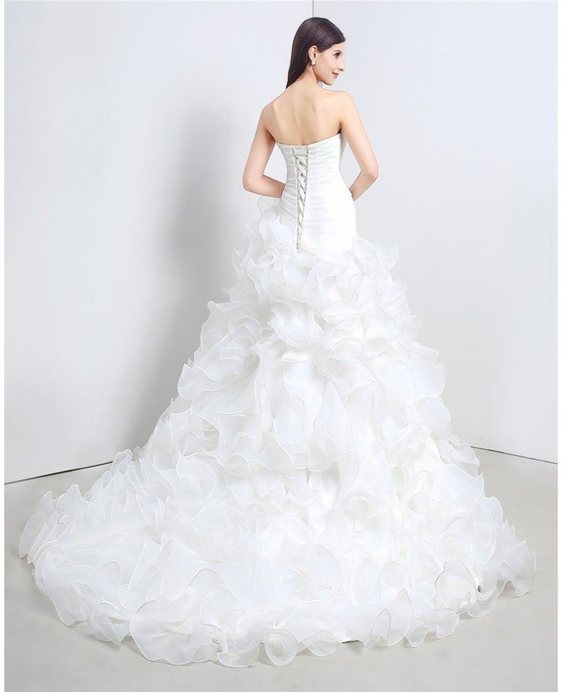 Wedding Gowns With Ruffles: Custom Sweetheart Formal Organza Wedding Dress With