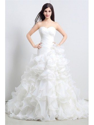 Custom Sweetheart Formal Organza Wedding Dress With Ruffles For Cheap Online