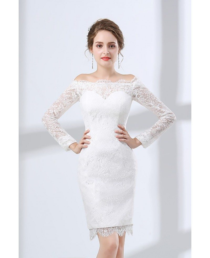 Fitted lace off shoulder short wedding dress long sleeves for Long dress for wedding party