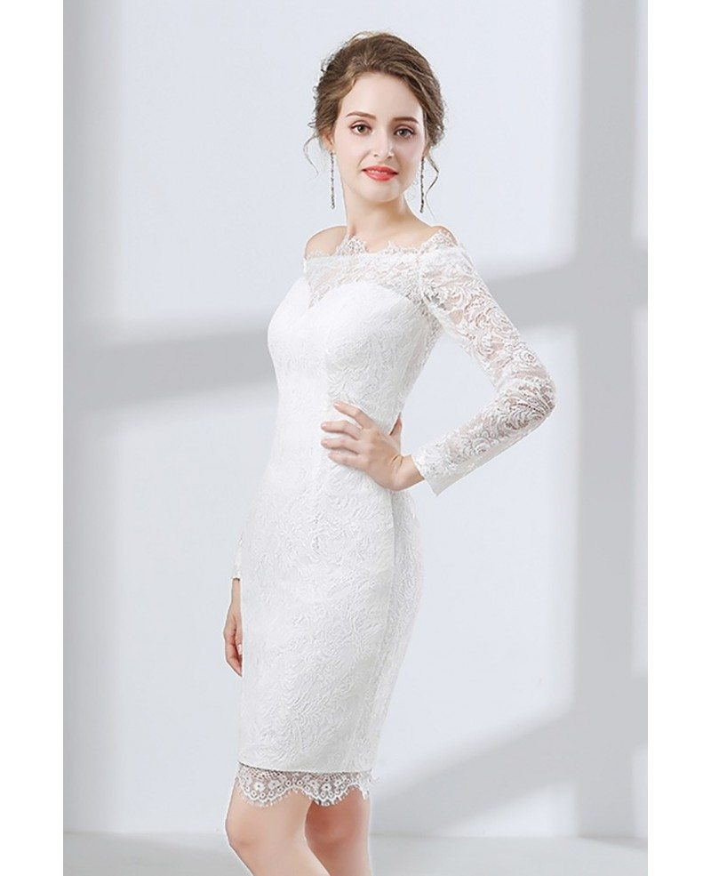 Fitted lace off shoulder short wedding dress long sleeves for Lace wedding short dress