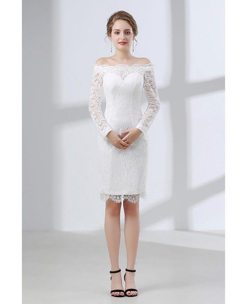 Fitted lace off shoulder short wedding dress long sleeves for Short wedding dress lace