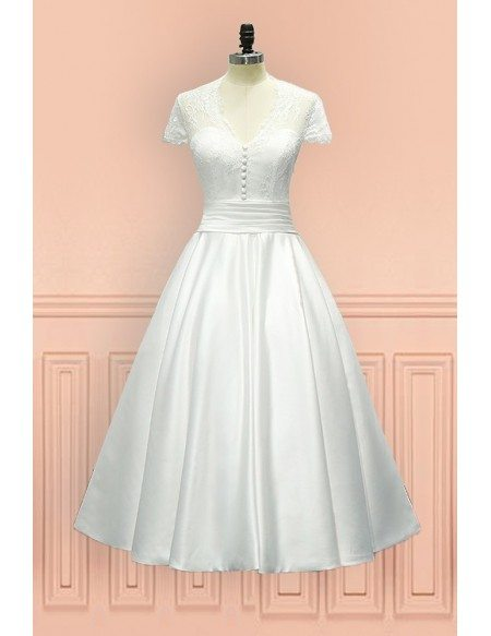 Unique Older Bride Wedding Dress Sheer Back With Cap Sleeve In Tea Length