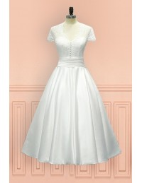 Vintage Tea Length Wedding Dress Sheer Back With Cap Sleeves