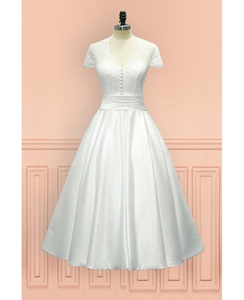 Vintage tea length wedding dress sheer back with cap for Vintage wedding dresses tea length