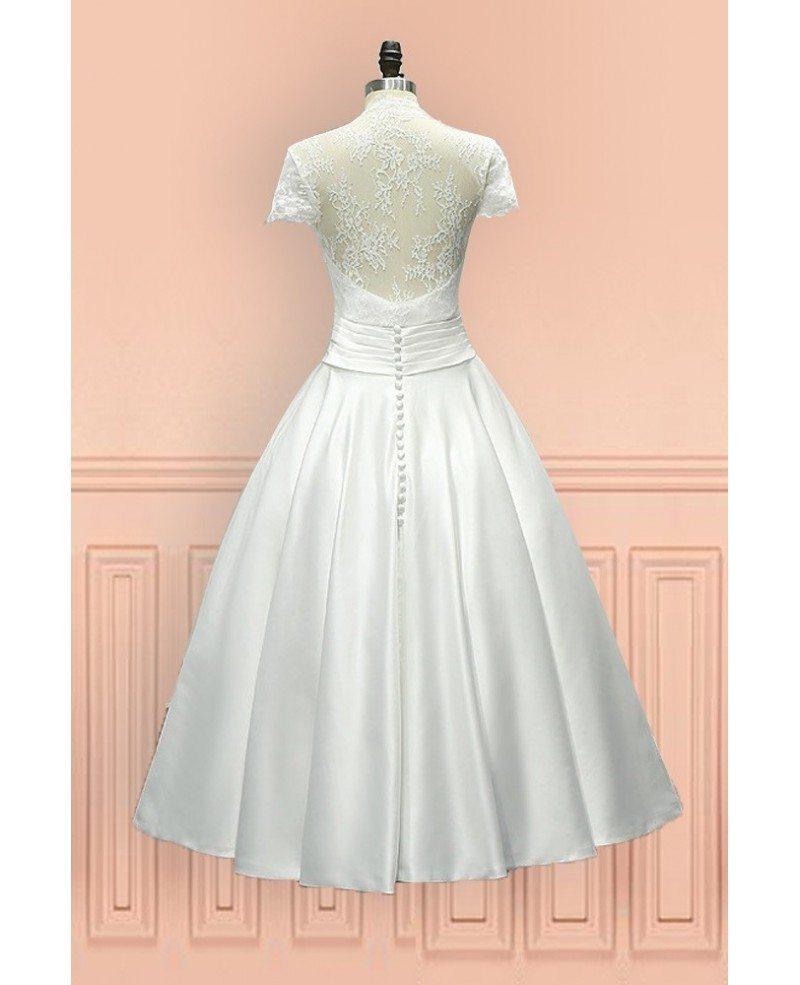 Vintage tea length wedding dress sheer back with cap for Wedding dress with sheer sleeves