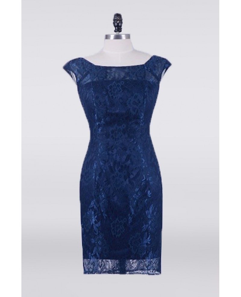 Navy Blue Cheap Lace Mother Of The Bride Dress Knee Length ...