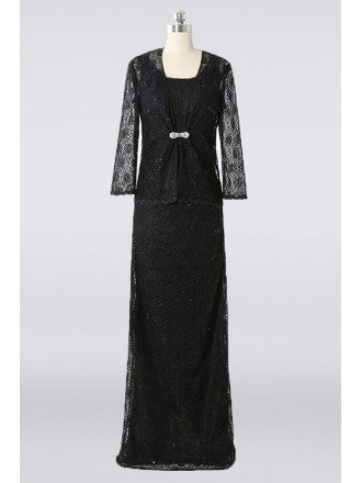 Modest Long Black Lace Mother Of The Bride Dress With Jacket Custom Color Sizes