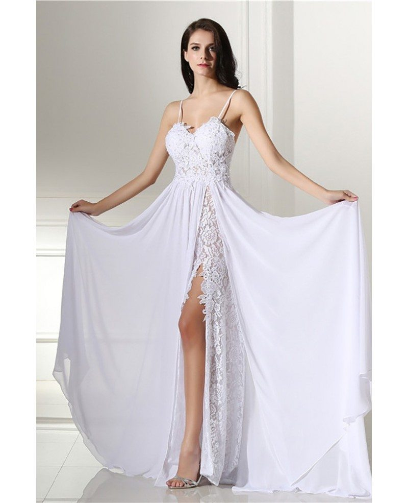 Backless Lace Beach Wedding Dress Boho With Slit