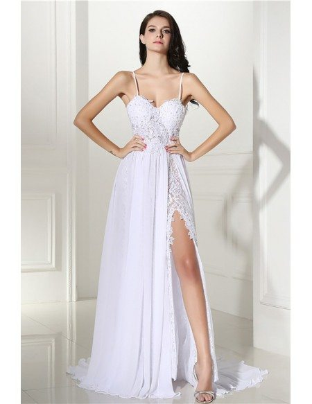 Backless Lace Beach Wedding Dress Boho With Slit Destination ...