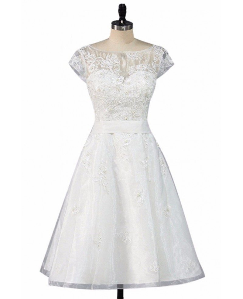 A Line Wedding Dresses With Cap Sleeves: Vintage Knee Length Lace A Line Short Wedding Dress Modest