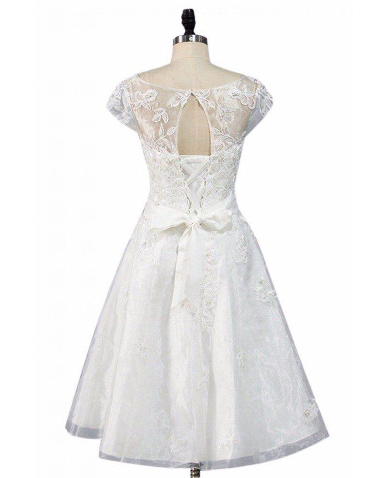 Vintage Knee Length Lace A Line Short Wedding Dress Modest