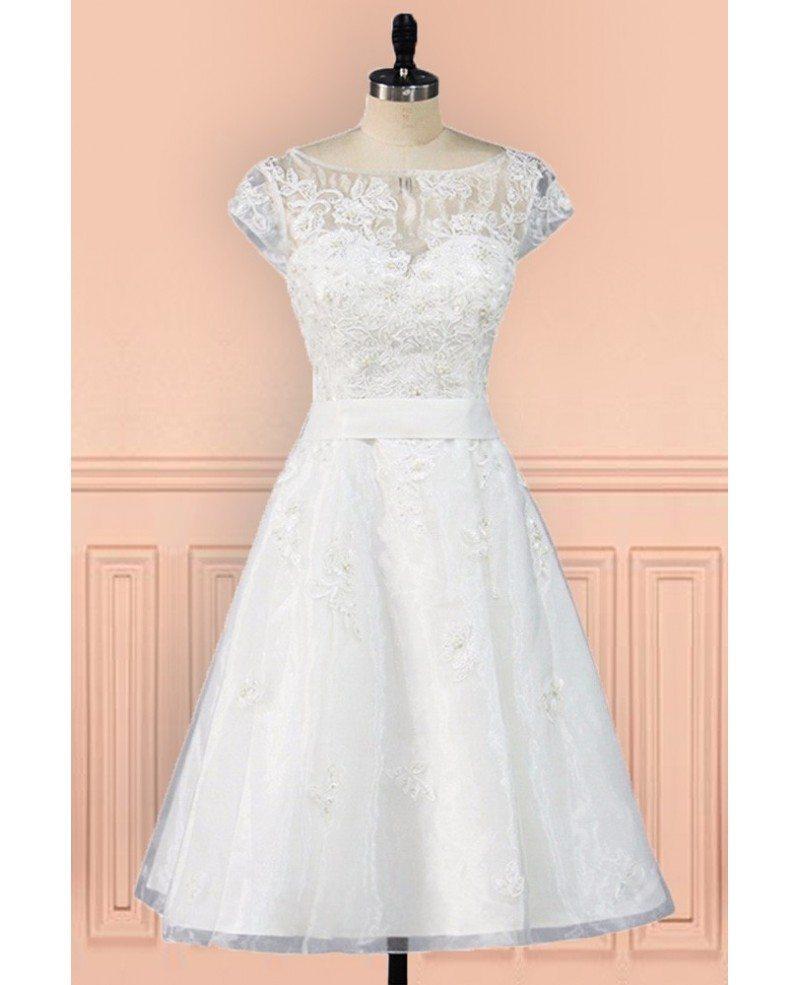 Vintage knee length lace a line short wedding dress modest for Short wedding dress with lace sleeves