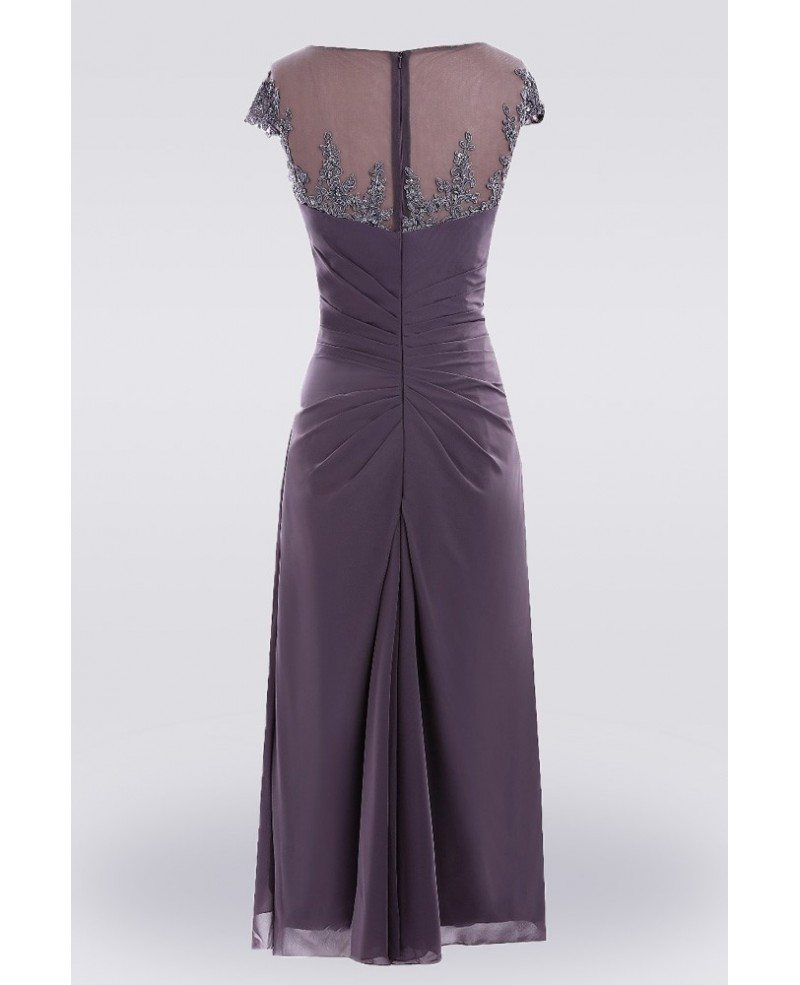 Purple knee length lace mother of the bride dress with for Purple dresses for weddings knee length