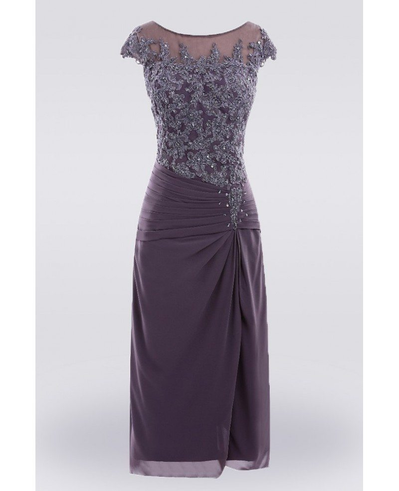Purple Knee Length Lace Mother Of The Bride Dress With