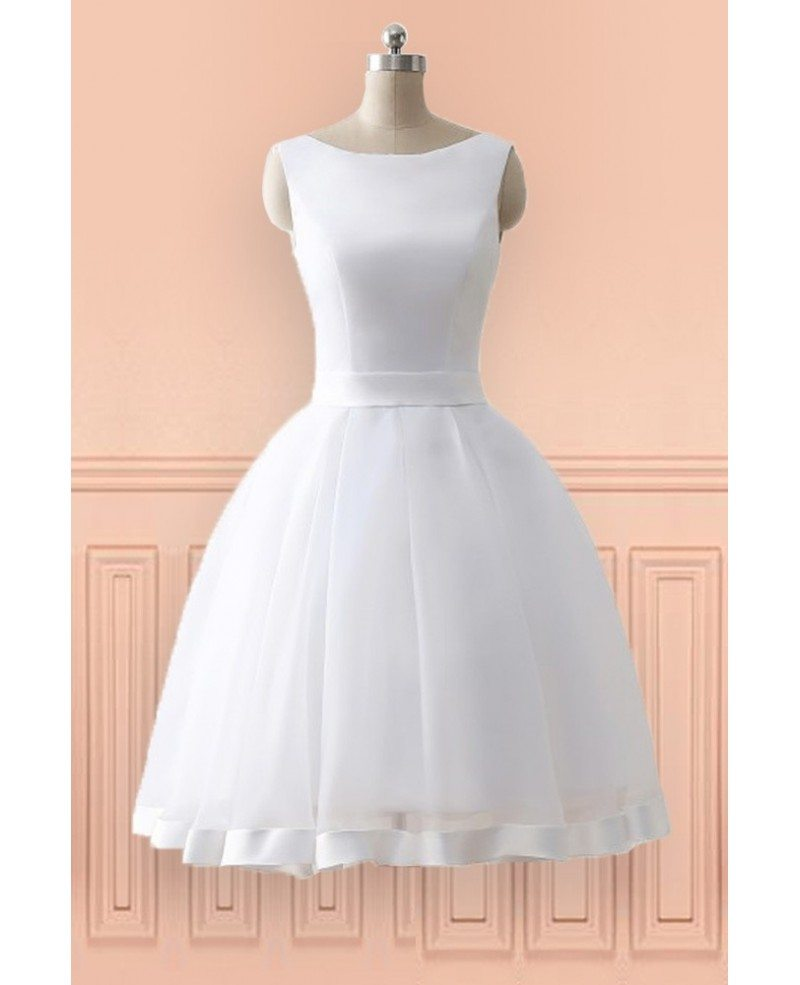 cheap knee length simple beach wedding dress with open bow
