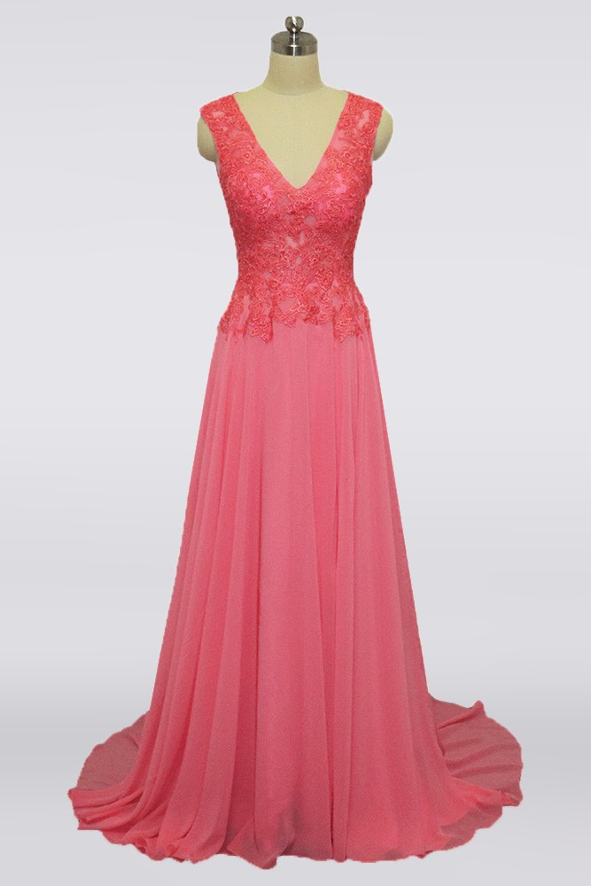 Youngful Coral Pink Long Mother Of The Bride Dress V Neck