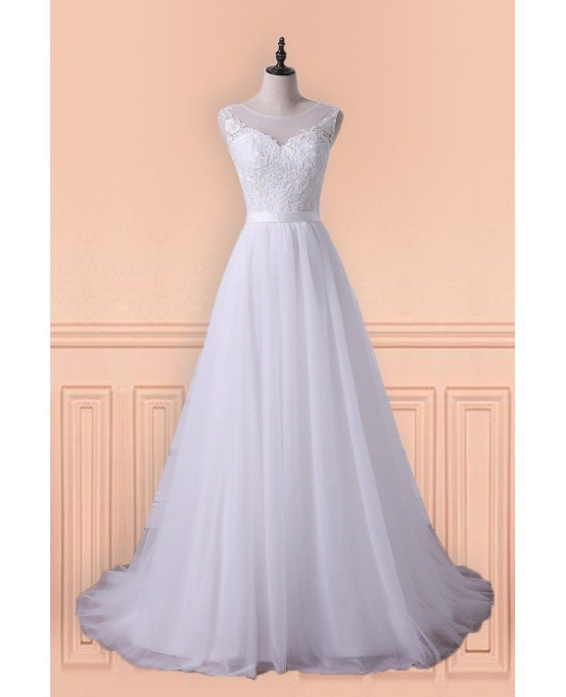 Princess A-line Tulle Long Wedding Dress With Sweep Train For Older ...