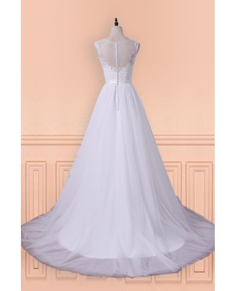 Princess A-line Tulle Long Wedding Dress With Sweep Train