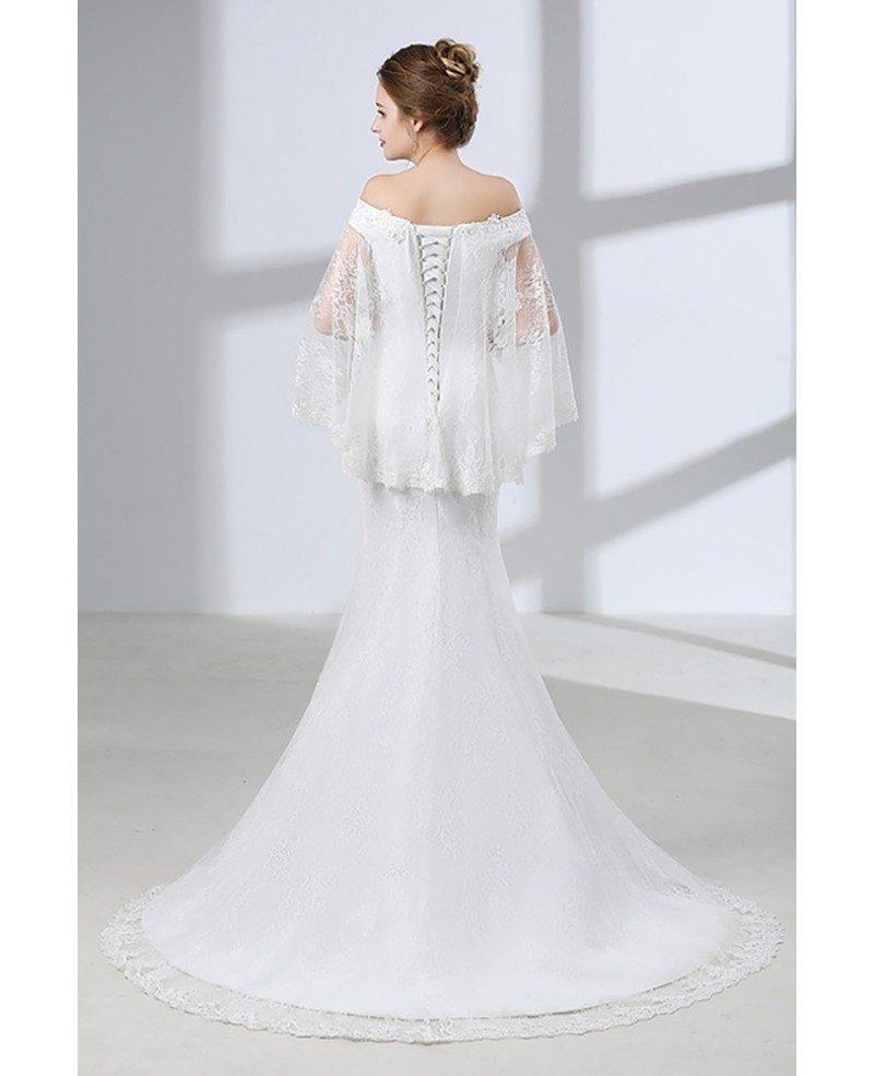 custom unique off shoulder lace mermaid wedding dress with