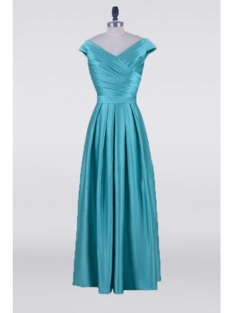 Long Teal Pleats Satin Mother Of The Bride Dress With Cap Sleeves