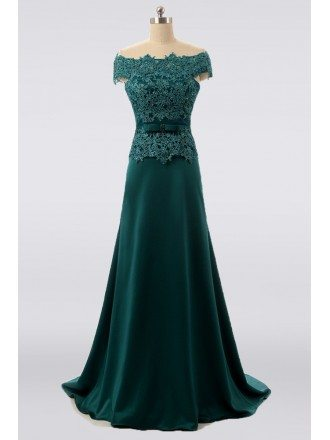 Elegant Long Green Mother Of The Bride Dress Lace Off Shoulder Formal Floor Length