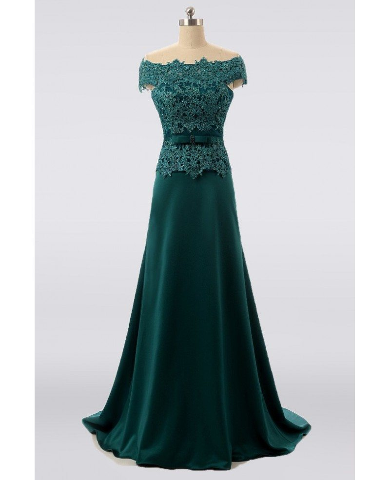 Elegant Long Green Mother Of The Bride Dress Lace Off
