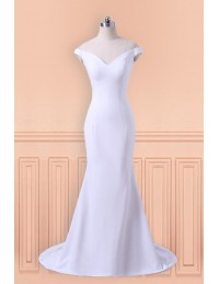 Simple Fitted Mermaid Wedding Dress 2018 With Off The Shoulder Straps
