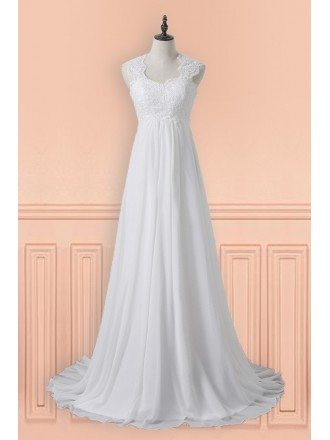 Gorgeous A Line Chiffon Wedding Dress Empire Waist For Mature Pregnant Bride
