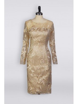 Trendy Petite Champagne Mother Of The Bride Dress In Knee Length