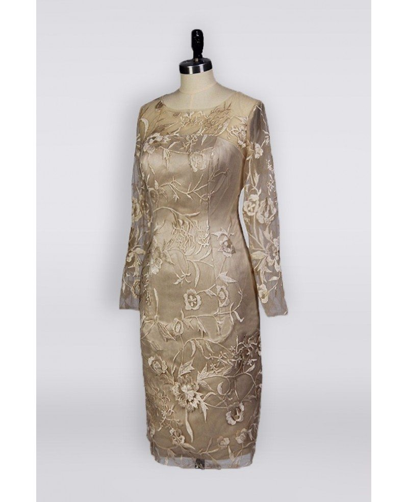 Trendy Mother Of The Bride: Trendy Petite Champagne Mother Of The Bride Dress In Knee