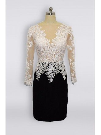 Short Black And White Lace Mother Of Bride Dress With Long Sleeves 2018