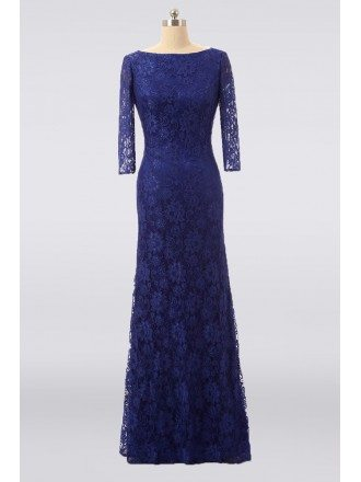 Formal Royal Blue Lace Long Evening Mother Of The Bride Dress With Sleeves