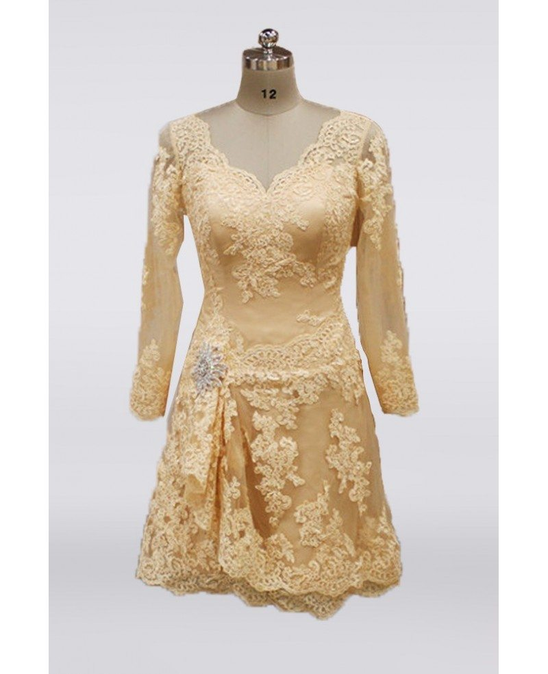 Champagne Wedding Gowns With Sleeves: Knee Length Champagne Lace Mature Wedding Dresses With