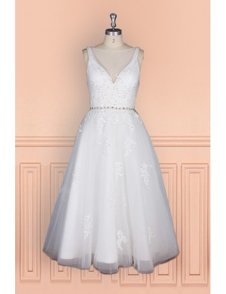 Elegant Tea Length Wedding Dress For Women With Crystal Waist