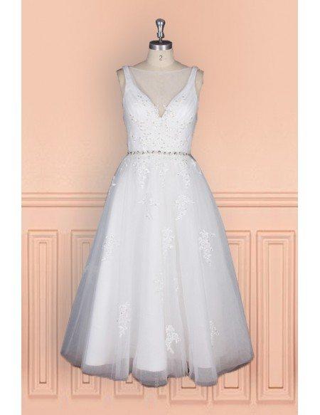 Elegant Tea Length Wedding Dress For Women With Crystal Waist