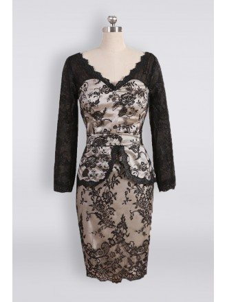 Unique Black Lace V-neck Short Mother Of The Groom Dress With Long Sleeves