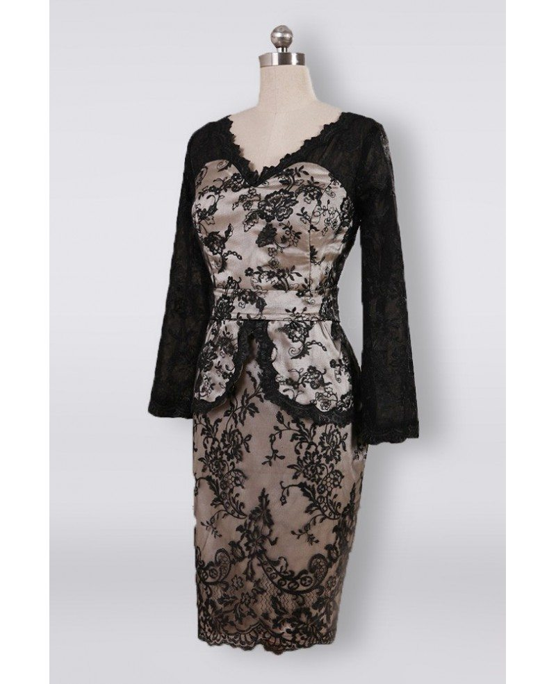 Unusual Mother Of The Bride Dresses: Unique Black Lace V-neck Short Mother Of The Groom Dress
