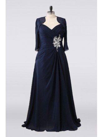 Full Figure Dark Navy Blue Mother Of The Bride Dress Pleated With Jacket