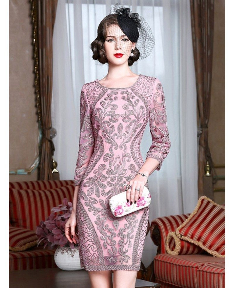 Classy pink embroidery short wedding guest dress 3 4 for 3 4 sleeve wedding guest dress