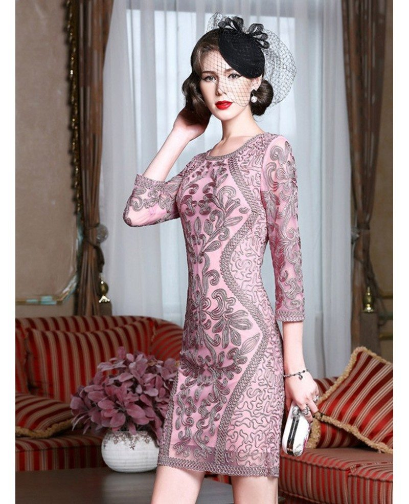 Classy Pink Embroidery Short Wedding Guest Dress 3/4