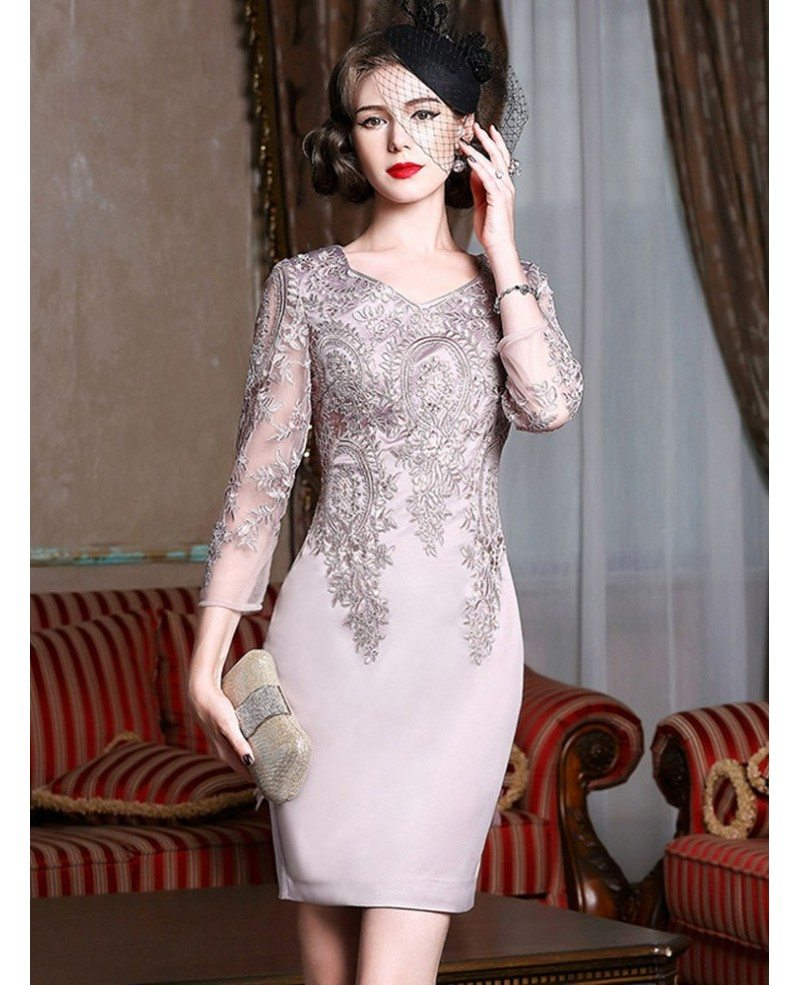 Long Sleeve Embroidered Cocktail Dress For Women Over 40,50 Wedding ...