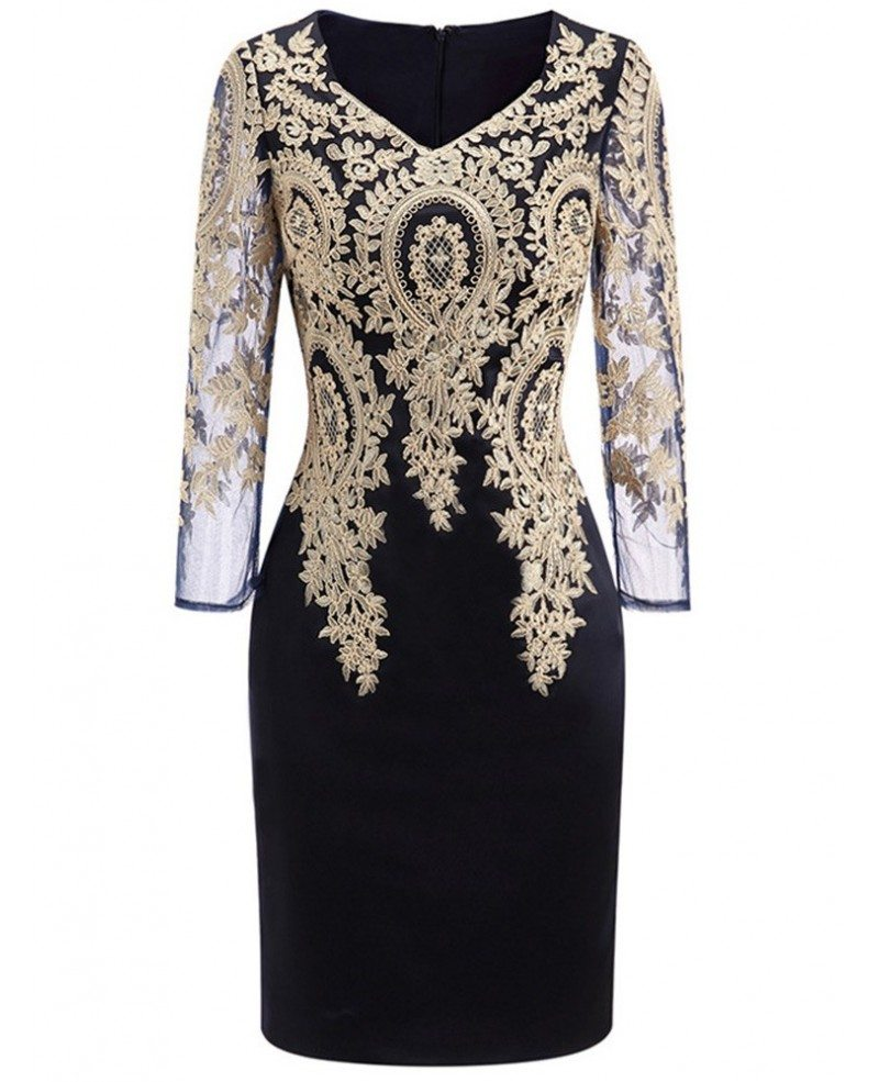 Long Sleeve Embroidered Cocktail Dress For Women Over 40