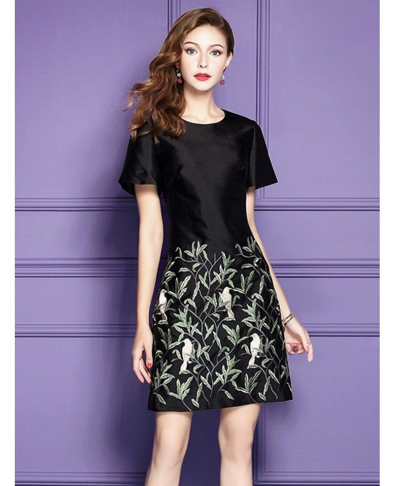 black a line embroidered short dress for wedding guest