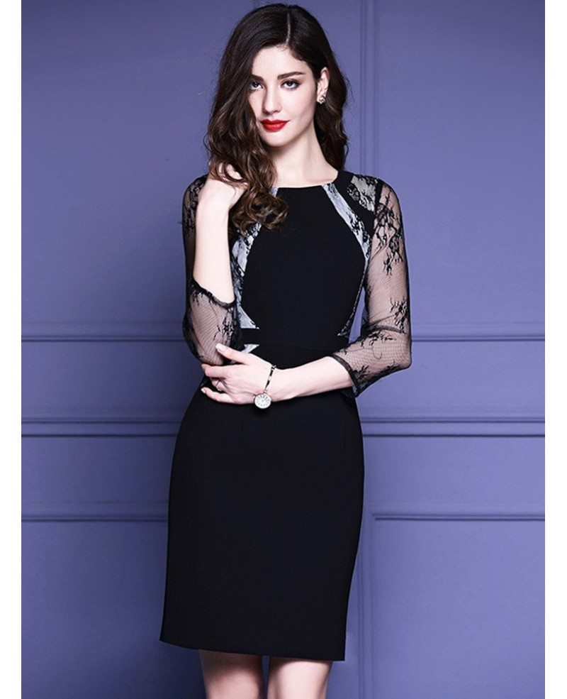 Black Lace 34 Sleeves Cocktail Wedding Party