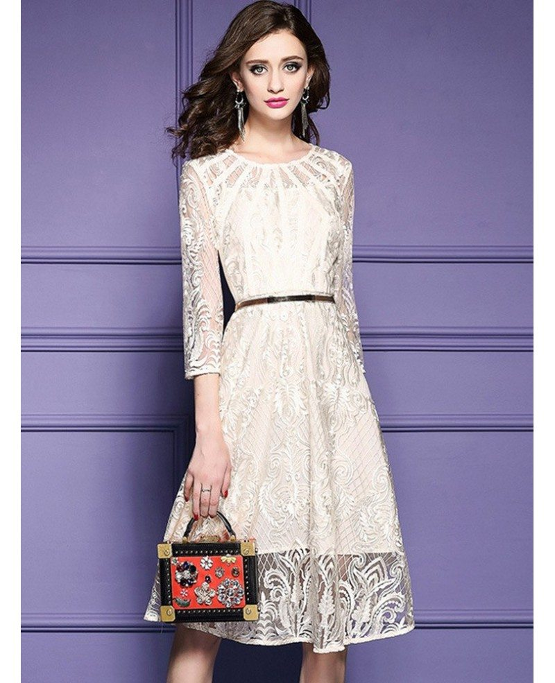 Elegant Beige Lace A Line Wedding Guest Dress With Sleeves ...
