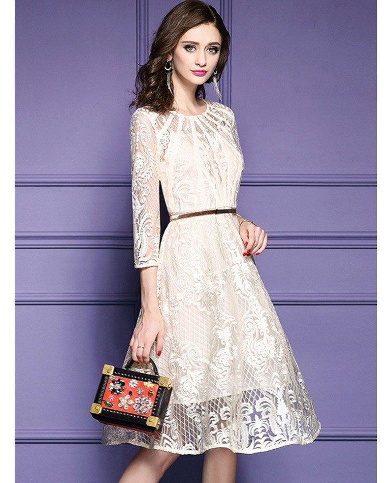 elegant beige lace a line wedding guest dress with sleeves