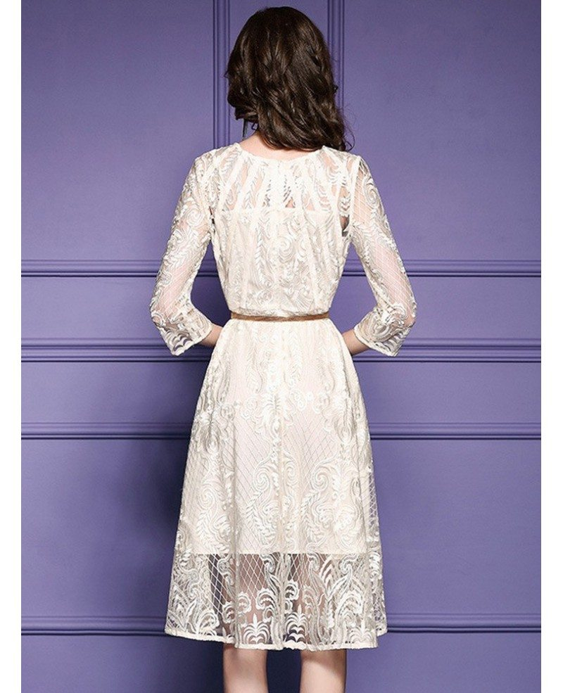Elegant beige lace a line wedding guest dress with sleeves for Wedding guest lace dresses