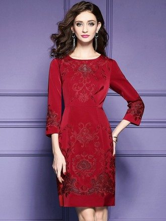 Burgundy Formal Embroidered Short Dress For Wedding Guest Over 40
